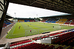 St Johnstone v Fleetwood Town…24.07.21  McDiarmid Park<br />The players warm-up before kick off<br />Picture by Graeme Hart.<br />Copyright Perthshire Picture Agency<br />Tel: 01738 623350  Mobile: 07990 594431