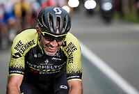 trying to break away as a final goodbye to pro racing; Michael Albasini (SUI/Mitchelton-Scott) riding his very last pro race ever.... <br /> <br /> 106th Liège-Bastogne-Liège 2020 (1.UWT)<br /> 1 day race from Liège to Liège (257km)<br /> <br /> ©kramon