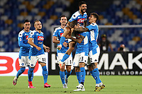 Elseid Hysaj of SSC Napoli celebrates with Lorenzo Insigne Giovanni Di Lorenzo and other team mates after scoring the goal of 1-0 during the Serie A football match between SSC Napoli and US Sassuolo at stadio San Paolo in Napoli ( Italy ), July 25th, 2020. Play resumes behind closed doors following the outbreak of the coronavirus disease. <br /> Photo Cesare Purini / Insidefoto