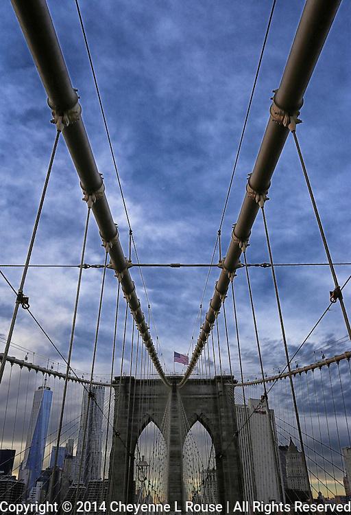 Brooklyn Bridge and Flag - New York City - One World Trade Center