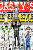 Spencer Pigot, Ed Carpenter Racing Chevrolet, James Hinchcliffe, Schmidt Peterson Motorsports Honda, Takuma Sato, Rahal Letterman Lanigan Racing Honda, podium