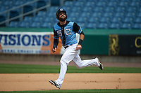 Syracuse Chiefs third baseman Jason Martinson (5) running the bases during a game against the Pawtucket Red Sox on July 6, 2015 at NBT Bank Stadium in Syracuse, New York.  Syracuse defeated Pawtucket 3-2.  (Mike Janes/Four Seam Images)