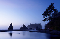 Sea stacks reflected in Cedar Creek at dusk, Ruby Beach, Olympic National Park, Jefferson County, Washington, USA