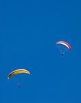CHE, Schweiz, Kanton Bern, Berner Oberland, Grindelwald: zwei Paraglider vor blauem Himmel | CHE, Switzerland, Bern Canton, Bernese Oberland, Grindelwald: two Paraglider + blue sky