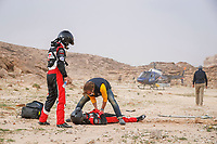 7th January 2021; Riyadh to Buraydah, Saudi Arabia; Dakar Rally, stage 5;  medical staff attend to an injured rider laying in the sand during the 5th stage of the Dakar 2021 between Riyadh and Buraydah, in Saudi Arabia on January 7, 2021