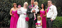 Pictured: Hollie Kerrell when she got married husband Christopher (Chris) (BOTH CENTRE)<br /> Re: Christopher Kerrell, 35 has appeared before a judge at Cardiff Crown Court, charged with murdering Hollie Kerrell, a mother of three who had been missing for four days at Knighton, mid Wales, UK.<br /> <br /> Kerrell, who lives at the Whitton area, Knighton, Powys, was charged with killing Hollie Kerrell, 28, when he appeared before Merthyr Magistrates on Sunday.<br /> <br /> The body of Ms Kerrell, also of Knighton, was discovered at a farm four days after her disappearance.