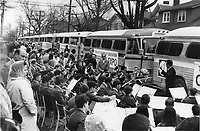 1967 FILE - All aboard for operation expo. Band plays send-off at Winona Drive senior public school for group of the first 711 Metro school children to take part in Toronto Board of Education Operation Expo; which will enable 16;000 pupils to have four-day Expo trip at $30 each. First trip is off to good start: Youngsters sang; shouted and slept their way to Montreal; enjoyed roast beef dinner in school cafeteria last night; bounced out of bunks in school gymnasium at 6 this morning to got to Expo in the 22 buses that took them to Montreal. Next group arrives Wednesday.<br /> <br /> 1967<br /> <br /> PHOTO :  Gordon McCaffrey - Toronto Star Archives - AQP