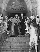 After his enthronement as Archbishop of Quebec, Most Rev Maurice Roy is seen leaving the Basilica of Notre Dame in Quebec City. At 42, he succeds the late Cardinal Villeneuve in North America's oldest diocese. The ceremony was conducted by Archbishop II debrando Antoniutti, papel delegate to Canada<br /> <br /> <br /> [unknown]<br /> Picture, 1947, English<br /> <br /> PHOTO : Toronto Star Archives - AQP