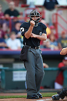 Umpire Mike Wiseman during a game between the Richmond Flying Squirrels and Erie SeaWolves on August 22, 2016 at Jerry Uht Park in Erie, Pennsylvania.  Erie defeated Richmond 4-2.  (Mike Janes/Four Seam Images)