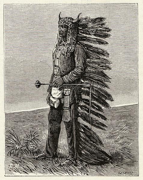 Sioux leader     Date: 1831-1890     Source: La Nature 4 April 1891 page 280