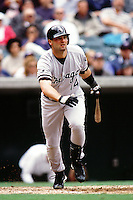 Paul Konerko of the Chicago White Sox during a game against the Anaheim Angels at Angel Stadium circa 1999 in Anaheim, California. (Larry Goren/Four Seam Images)