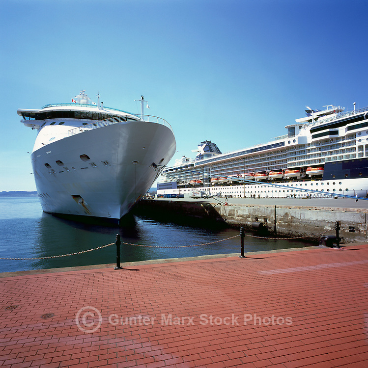 """Cruise Ships docked at """"Ogden Point"""", Victoria, BC, Vancouver Island, British Columbia, Canada - """"Radiance of the Seas"""" (left), """"Celebrity Infinity"""" (right)"""