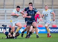 27th December 2020; AJ Bell Stadium, Salford, Lancashire, England; English Premiership Rugby, Sale Sharks versus Wasps;  Alfie Barbeary of Wasps is chased by  Valerie Morozov of Sale Sharks and tackled by  AJ MacGinty of Sale Sharks