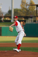 Stockton Ports pitcher Casey Meisner (20) in action during a game against the Visalia Rawhide at Banner Island Ballpark on August 15, 2015 in Stockton, California. Visalia defeated Stockton 9-1. (Robert Gurganus/Four Seam Images)