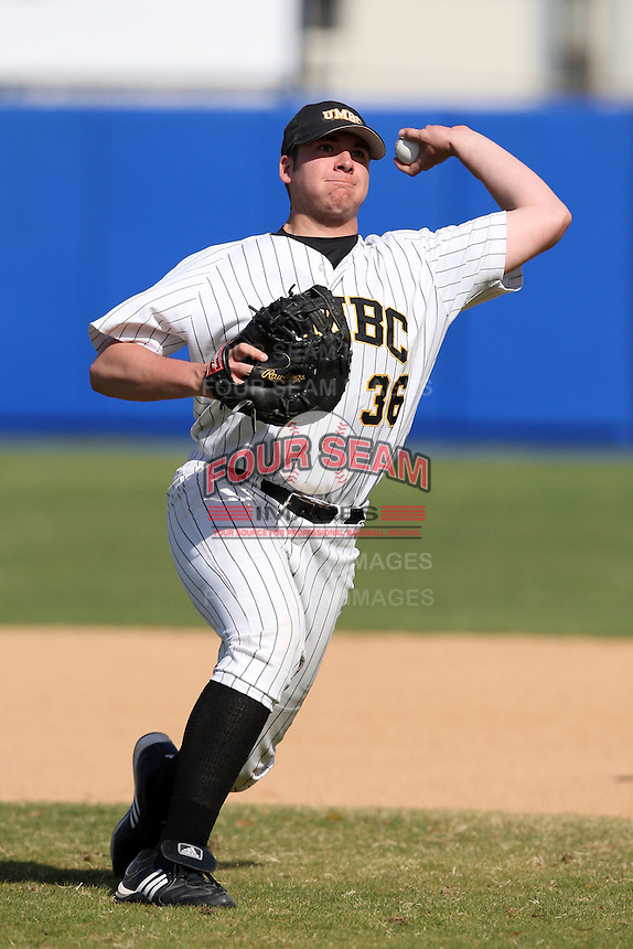 March 14, 2010:  First Baseman Josh Dick of UMBC in a game vs. Bucknell at Chain of Lakes Stadium in Winter Haven, FL.  Photo By Mike Janes/Four Seam Images