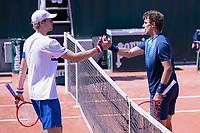 30th May 2021; Roland Garros, Paris, France; French Open Tennis championships, day 1;  L-R. Yannick Hanfmann GER congratulates winner Henri Laaksonen