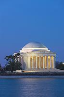 The Jefferson Memorial illuminated during morning twilight prior to sunrise in Washington, DC.