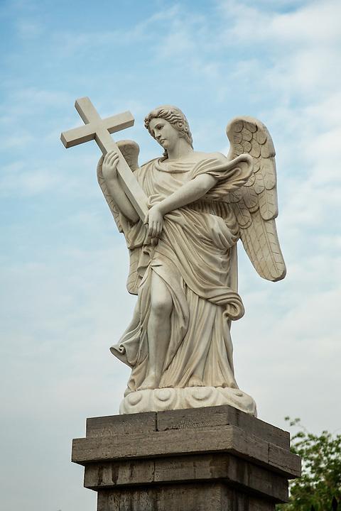 Statue At The Gates.  St. Joseph's Cathedral, Jinan (Tsinan).
