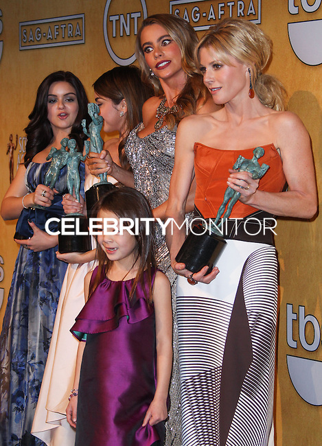LOS ANGELES, CA - JANUARY 18: Ariel Winter, Sarah Hyland, Sofia Vergara, Julie Bowen, Aubrey Anderson-Emmons in the press room at the 20th Annual Screen Actors Guild Awards held at The Shrine Auditorium on January 18, 2014 in Los Angeles, California. (Photo by Xavier Collin/Celebrity Monitor)