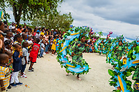 Afro-Colombian dancers of the Alameda Reyes neighborhood perform during the San Pacho festival in Quibdó, Colombia, 3 October 2019. Every year at the turn of September and October, the capital of the Pacific region of Chocó holds the celebrations in honor of Saint Francis of Assisi (locally named as San Pacho), recognized as Intangible Cultural Heritage by UNESCO. Each day carnival groups, wearing bright colorful costumes and representing each neighborhood, dance throughout the city, supported by brass bands playing live music. The festival culminates in a traditional boat ride on the Atrato River, followed by massive religious processions, which accent the pillars of Afro-Colombian's identity – the Catholic devotion grown from African roots.
