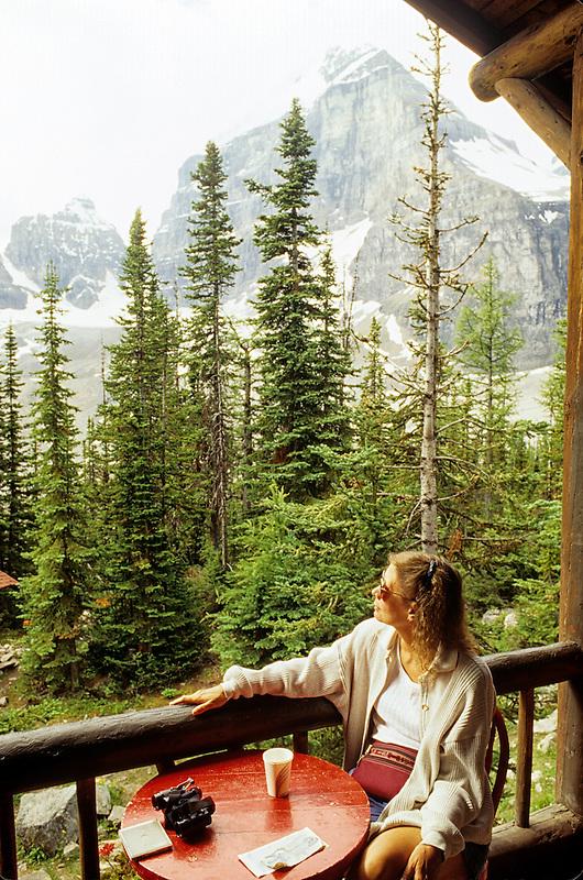 Hiker resting at teahouse. Near Lake Louise, Canada
