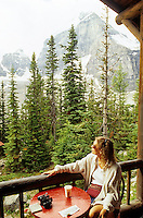 Hiker resting at teahouse. Near Lake Louise, Canada