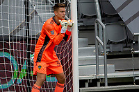 LOS ANGELES, CA - OCTOBER 25: Jonathan Klinsmann #33 goalkeeper of the Los Angeles Galaxy sending directions to his wall during a game between Los Angeles Galaxy and Los Angeles FC at Banc of California Stadium on October 25, 2020 in Los Angeles, California.
