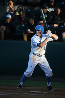 Kort Peterson (18) of the UCLA Bruins runs to first base during a game against the North Carolina Tar Heels at Jackie Robinson Stadium on February 20, 2016 in Los Angeles, California. UCLA defeated North Carolina, 6-5. (Larry Goren/Four Seam Images)