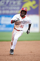 Auburn Doubledays right fielder Daniel Johnson (30) running the bases during a game against the Vermont Lake Monsters on July 13, 2016 at Falcon Park in Auburn, New York.  Auburn defeated Vermont 8-4.  (Mike Janes/Four Seam Images)