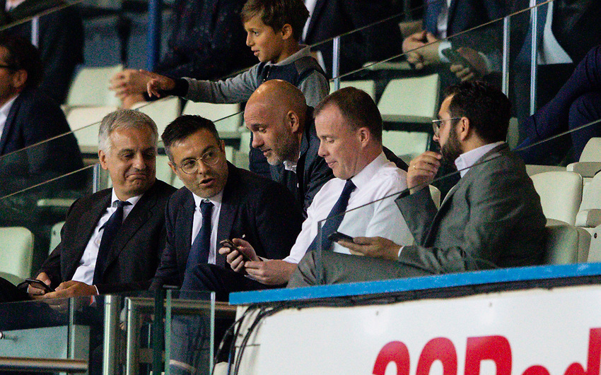 Leeds United owner Andra Radrizzani chats with chief executive Angus Kinnear and director of football Victor Orta<br /> <br /> Photographer Alex Dodd/CameraSport<br /> <br /> The EFL Sky Bet Championship - Leeds United v Charlton Athletic - Wednesday July 22nd 2020 - Elland Road - Leeds <br /> <br /> World Copyright © 2020 CameraSport. All rights reserved. 43 Linden Ave. Countesthorpe. Leicester. England. LE8 5PG - Tel: +44 (0) 116 277 4147 - admin@camerasport.com - www.camerasport.com