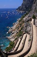Via Krupp von Augustgärten nach Marina Piccola, erbaut 1902 von Friedrich Alfred Krupp, Capri, Italien