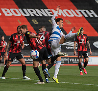 Queens Park Rangers' Luke Amos (right) battles with Bournemouth's Jack Stacey (left) and Chris Mepham (centre)<br /> <br /> Photographer David Horton/CameraSport<br /> <br /> The EFL Sky Bet Championship - Bournemouth v Queens Park Rangers - Saturday 17th October 2020 - Vitality Stadium - Bournemouth<br /> <br /> World Copyright © 2020 CameraSport. All rights reserved. 43 Linden Ave. Countesthorpe. Leicester. England. LE8 5PG - Tel: +44 (0) 116 277 4147 - admin@camerasport.com - www.camerasport.com
