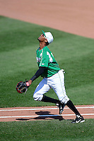 Dayton Dragons first baseman Robert Ramirez #13 during a game against the Bowling Green Hot Rods on April 21, 2013 at Fifth Third Field in Dayton, Ohio.  Bowling Green defeated Dayton 7-5.  (Mike Janes/Four Seam Images)