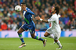Real Madrid's Marcelo Vieira (r) and WfL Wolfsburg's Bruno Henrique during Champions League 2015/2016 Quarter-finals 2nd leg match. April 12,2016. (ALTERPHOTOS/Acero)