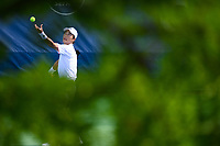 WASHINGTON, DC - AUGUST 1: Go Soeda Go Soeda (JPN) serves to Prajnesh Gunneswaran (IND) during Qualifying at the 2021 Citi Open at Rock Creek Park Tennis Center on August 1, 2021 in Washington, DC.