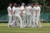 Hornchurch Athletic players celebrate taking the second Barking wicket during Barking CC (batting) vs Hornchurch Athletic CC, Hamro Foundation Essex League Cricket at Mayesbrook Park on 31st July 2021