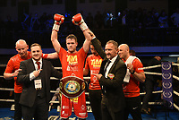 MTK Global Boxing Promoter Lee Eaton (2nd L) celebrates with Danny Dignum during a Boxing Show at York Hall on 9th November 2019