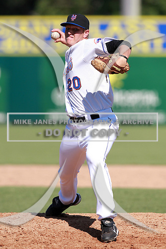 New York Mets minor league pitcher Ryan Fraser (20) during a game vs. the Minnesota Twins in an Instructional League game at City of Palms Park in Fort Myers, Florida;  October 4, 2010.  Photo By Mike Janes/Four Seam Images