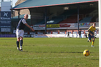 3rd April 2021; Dens Park, Dundee, Scotland; Scottish FA Cup Football, Dundee FC versus St Johnstone; Charlie Adam of Dundee takes a penalty kick which was saved by St Johnstone goalkeeper ZanderClark in the 75th minute