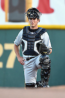 Omaha Storm Chasers catcher Beau Maggi (45) in the bullpen during the first game of a double header against the Nashville Sounds on May 21, 2014 at Herschel Greer Stadium in Nashville, Tennessee.  Nashville defeated Omaha 5-4.  (Mike Janes/Four Seam Images)