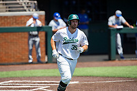 Wright State Raiders first baseman Zane Harris (39) jogs to first base against the Duke Blue Devils in NCAA Regional play on Robert M. Lindsay Field at Lindsey Nelson Stadium on June 5, 2021, in Knoxville, Tennessee. (Danny Parker/Four Seam Images)