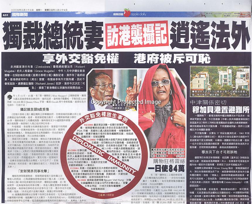 Hong Kong Apple Daily Newspaper, 2009, showing the incident where Grace Mugabe attacked photographer Richard Jones. ©sinopix