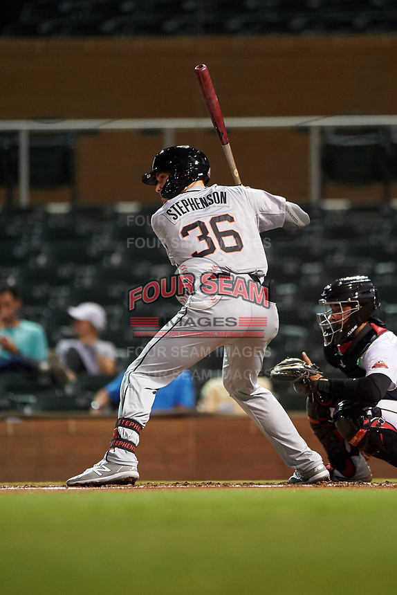 Glendale Desert Dogs Tyler Stephenson (36), of the Cincinnati Reds organization, at bat during an Arizona Fall League game against the Scottsdale Scorpions on September 20, 2019 at Salt River Fields at Talking Stick in Scottsdale, Arizona. Scottsdale defeated Glendale 3-2. (Zachary Lucy/Four Seam Images)