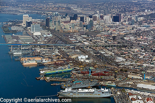 aerial view above Port and city skyline San Diego California