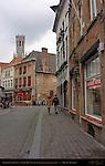 Bruges Shopping: Korte Zilverstraat (Belfort in the distance), Bruges, Brugge, Belgium