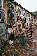 March 1979, La Paz, Bolivia --- In Bolivia, children are employed to maintain cemetaries. | Location: La Paz, Bolivia. --- Image by © JP Laffont
