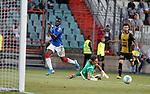01.08.2019 Progres Niederkorn v Rangers: Sheyi Ojo squares the ball
