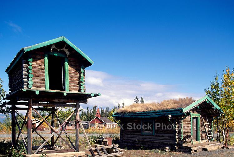 Burwash Landing at Kluane Lake, Yukon Territory, Canada - Food Cache and Old Log Cabin with Sod Roof, Klondike Region