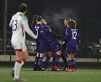 Anderlecht players congratulate Britt Vanhamel (4) of Anderlecht for her goal during a female soccer game between Oud Heverlee Leuven and RSC Anderlecht on the 12 th matchday of the 2020 - 2021 season of Belgian Womens Super League , sunday 31 st of January 2021  in Heverlee , Belgium . PHOTO SPORTPIX.BE | SPP | SEVIL OKTEM