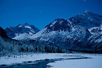 Eagler River Alaska, near midnight on New Years eve.
